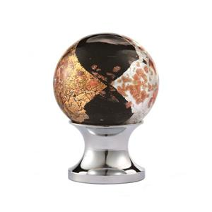Round 1-in Black and Gold Blown Glass  Cabinet Knob