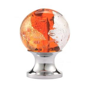 Round 1-in Amber and Gold Blown Glass  Cabinet Knob