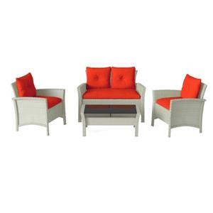 CorLiving 4 pc Grey & Red Rattan Wicker Patio Set