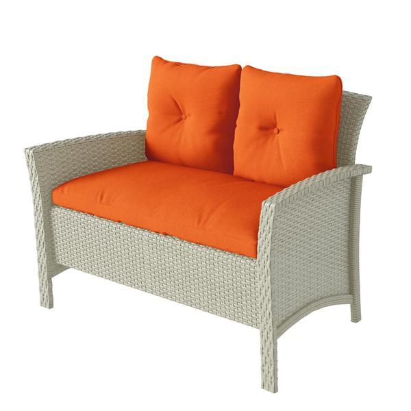 Ensemble de patio en osier de résine avec coussins orange