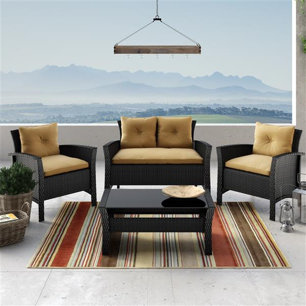 CorLiving 4 pc Black & Light Brown Rattan Wicker Patio Set