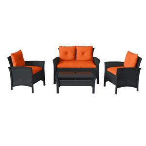 CorLiving 4 pc Black & Orange Rattan Wicker Patio Set