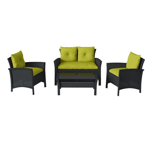 CorLiving 4 pc Black & Lime Green Rattan Wicker Patio Set