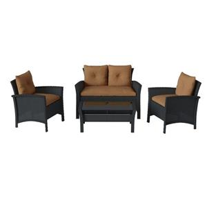 CorLiving Black & Brown Rattan 4-Piece Wicker Patio Set