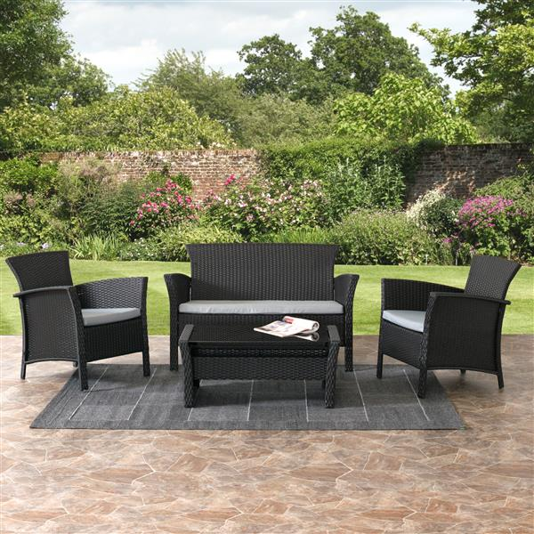 CorLiving Cascaded Charcoal Black 4 Piece Weave Patio Set