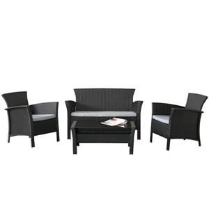 CorLiving Cascaded Charcoal Black 4 Piece Weave Patio Set