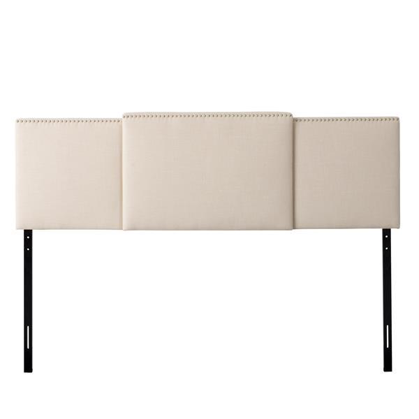 Tête de lit extensible avec tissu crème rembourré