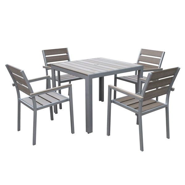 CorLiving Gallant 5 pc Sun Bleached Grey Outdoor Dining Set