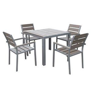 Ensemble repas Gallant pour la terrasse, Gris, 5 pièces