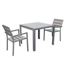 CorLiving Gallant 3 pc Sun Bleached Grey Outdoor Dining Set