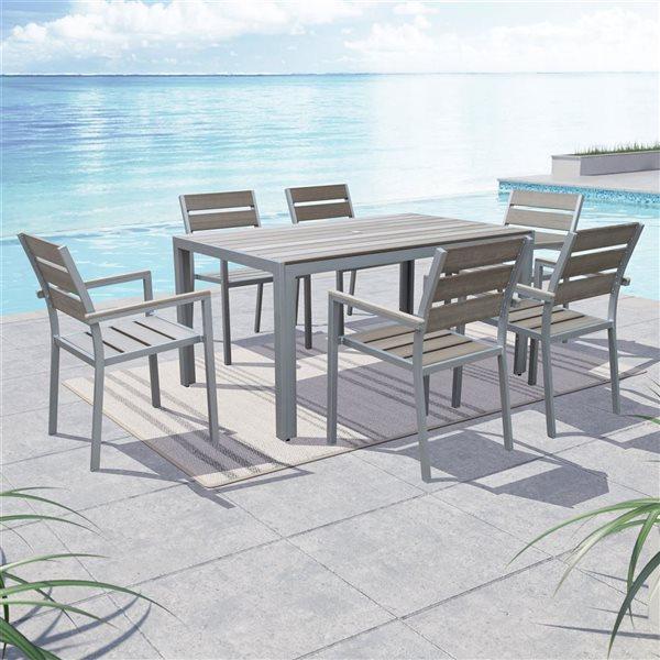 Ensemble repas Gallant pour la terrasse, Gris, 7 pièces