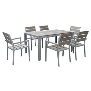 CorLiving Gallant 7 pc Sun Bleached Grey Outdoor Dining Set