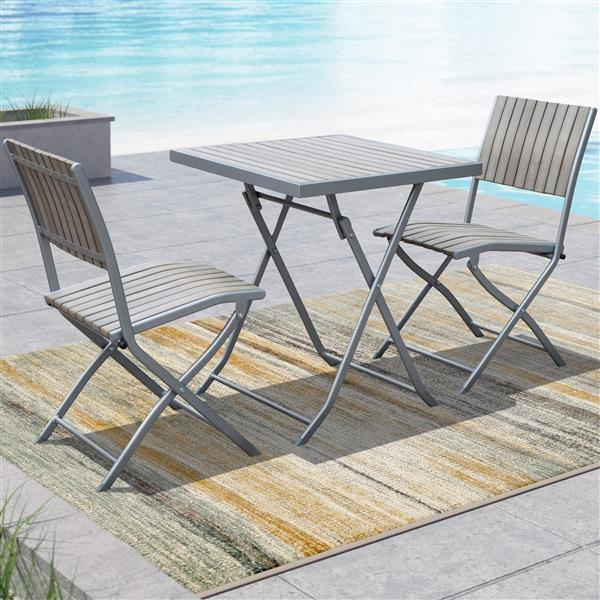CorLiving Gallant 3 pc Sun Bleached Grey Outdoor Folding Bistro Set