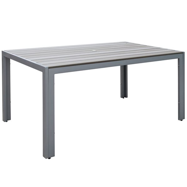 CorLiving 29-in x 59-in Sun Bleached Grey Outdoor Dining Table