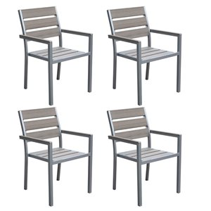 CorLiving Gallant  Set of 4 Grey Sun Bleached Outdoor Dining Chairs