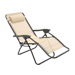 Chaise longue texturée Riverside zéro gravité, Crème