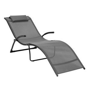 Chaise longue inclinable Riverside en noir et gris argenté