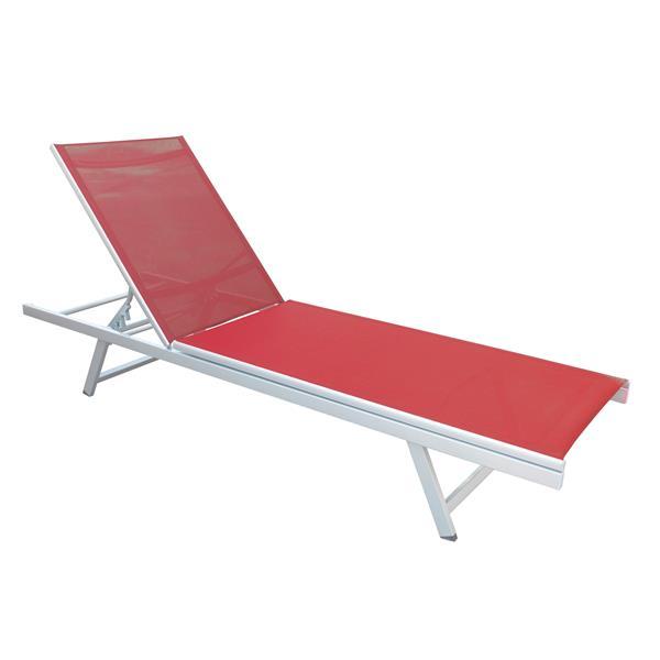 Chaise longue inclinable en tissu de mailles rouge corail