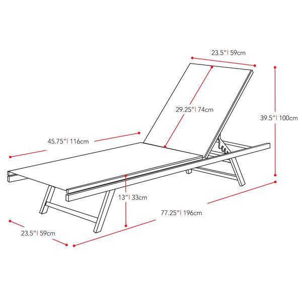 Chaise longue inclinable en tissu de mailles noir pour patio