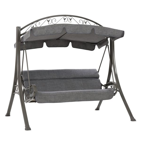 CorLiving 80-in x 85-in Textured Grey Patio Swing with Arched Canopy
