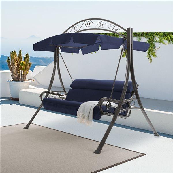 Balançoire de patio avec pare-soleil arqué bleu marine