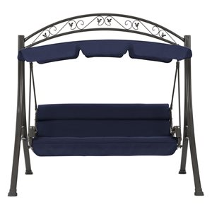 CorLiving 80-in x 85-in Navy Blue Patio Swing with Arched Canopy