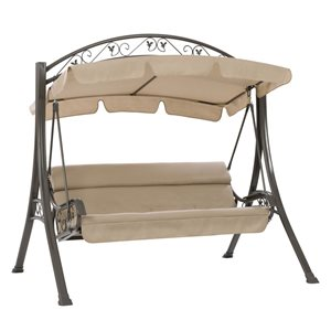 CorLiving Patio Swing with Arched Canopy in Beige