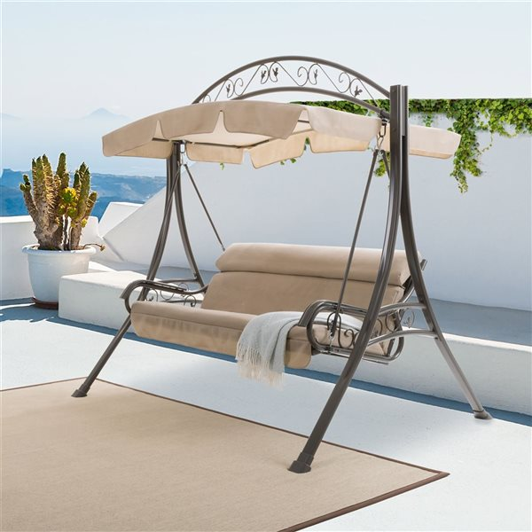 CorLiving 80-in x 85-in Beige Patio Swing with Arched Canopy