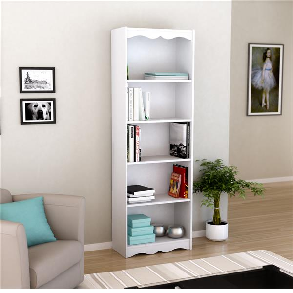 CorLiving 72-in x 24-in x 12- in Frost White Tall Bookcase