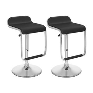 Ensemble de 2 tabourets moulants ajustables, similicuir noir