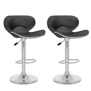 CorLiving Black Leatherette Curved Adjustable Bar Stool (Set of 2)