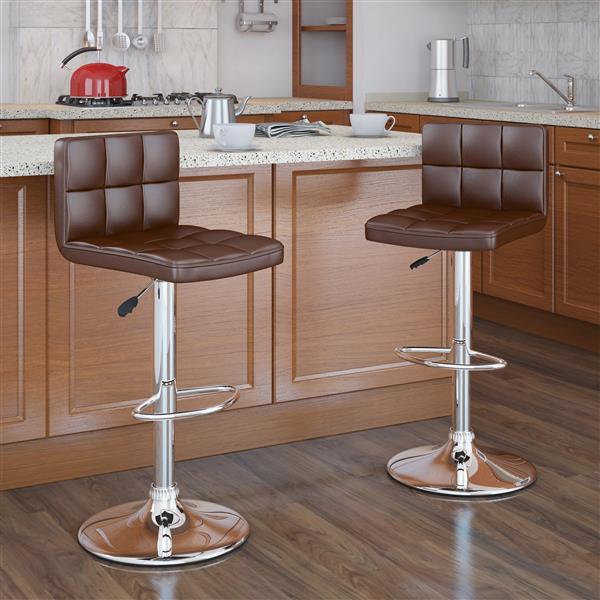 Tabouret de bar similicuir marron, hauteur réglable, ens. de 2