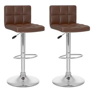 CorLiving Brown Square Tufted Leatherette Adjustable Bar Stool (Set of 2)