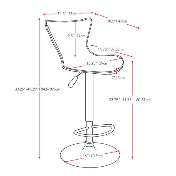 CorLiving White Leatherette Adjustable Bar Stool (Set of 2)