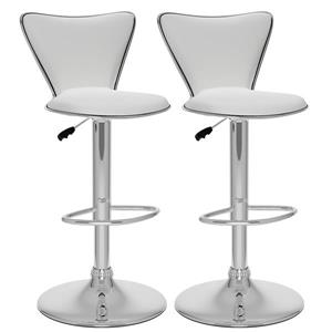 CorLiving White Leatherette Adjustable Bar Stool (Set of 2)
