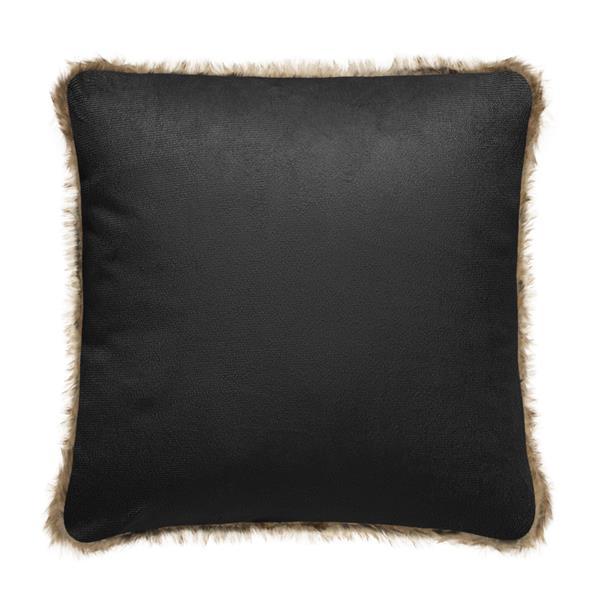 Coussin décoratif en fausse fourrure, brun