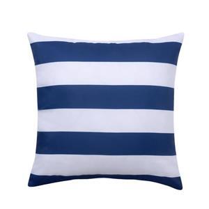 Coussin extérieur à rayures, bleu et blanc