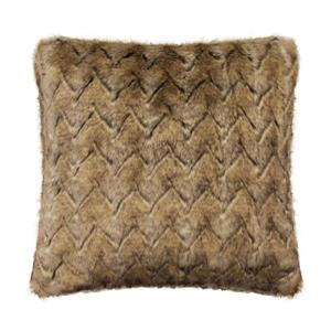 Millano 18-in Brown Wolf Faux Fur Decorative Cushion