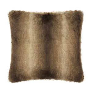 Millano Collection 18-in Brown Wolf Faux Fur Decorative Cushion