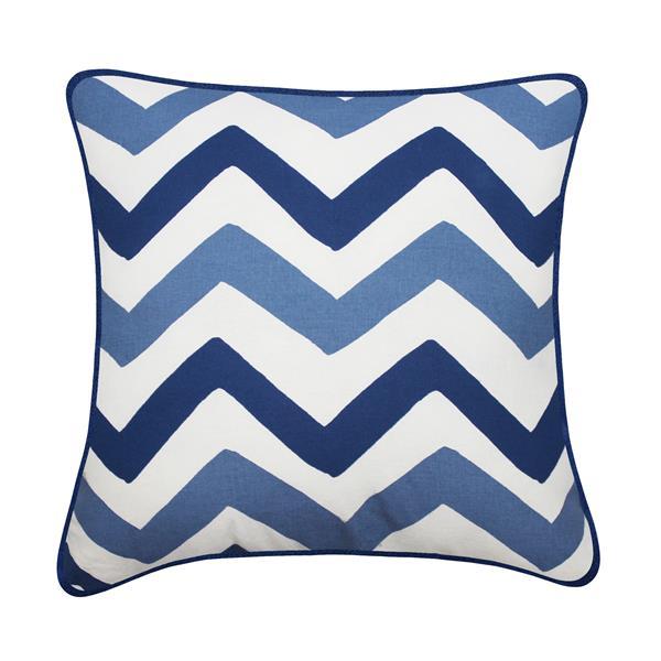 Coussin décoratif Welton, chevrons, bleu et blanc