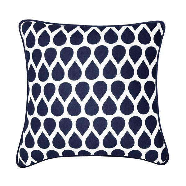 Coussin décoratif Taylor, bleu et blanc