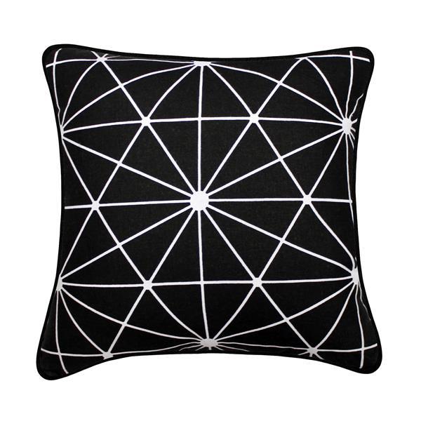 Coussin décoratif, lumière des étoiles, noir
