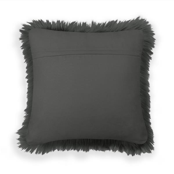 Coussin décoratif, simili fourrure, gris
