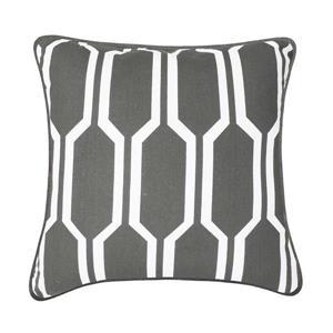 Coussin décoratif Wilton, gris et blanc