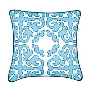 Coussin décoratif Tangier, bleu pâle et blanc