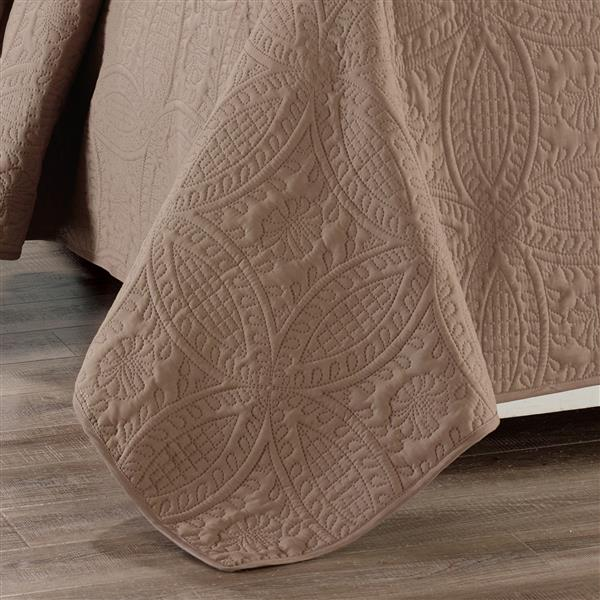Ens. de courtepointe, grand lit, polyester, brun, 3 mcx