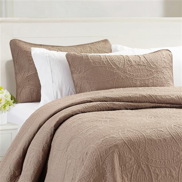 Millano Collection Brown Polyester 3 Piece Queen Quilt Set