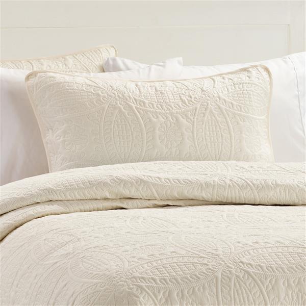 Ens. de courtepointe, grand lit, polyester, ivoire, 3 mcx