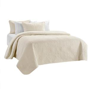 Millano Collection Off White Polyester 3 Piece Queen Quilt Set