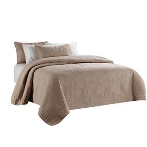 Millano Collection Brown Polyester 3 Piece King Quilt Set